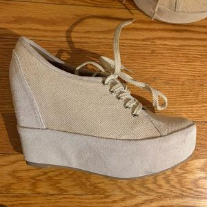 Jeffrey Campbell Suede/Canvas Wedge Booties 7